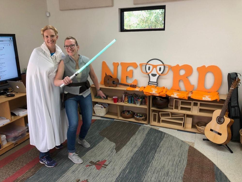 teachers dressed as Princess Leia and Ray